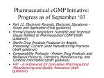 pharmaceutical cgmp initiative progress as of september 03