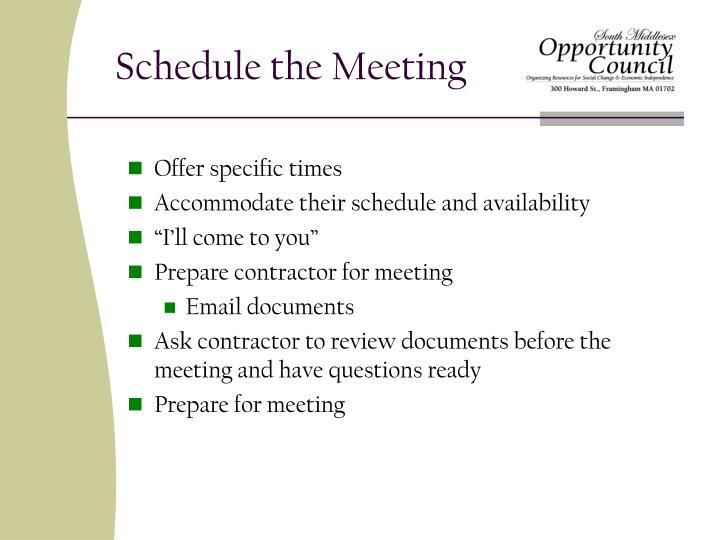 Schedule the Meeting