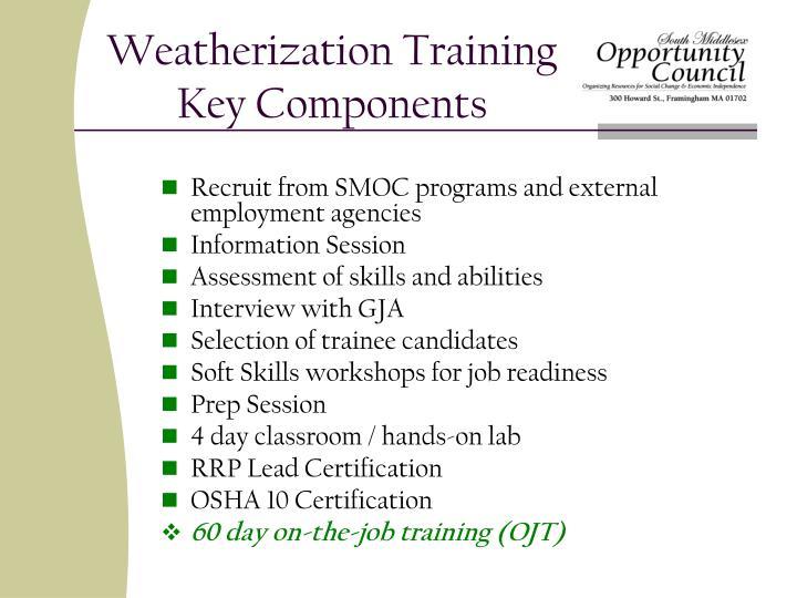 Weatherization training key components