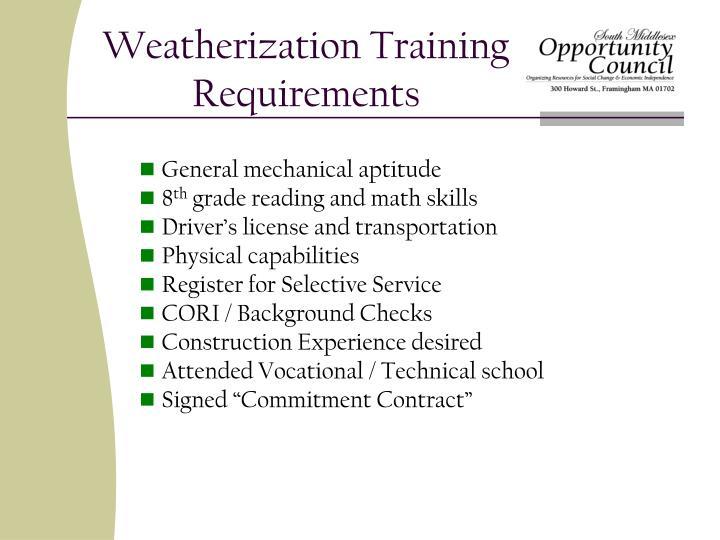 Weatherization training requirements