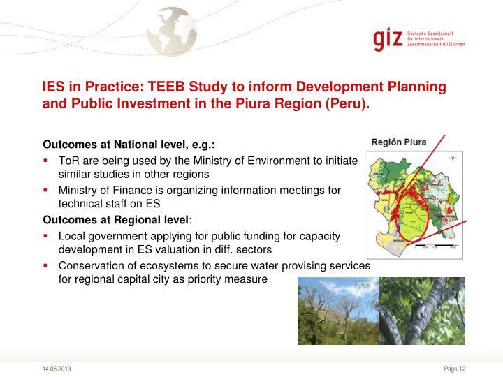 IES in Practice: TEEB Study to inform Development Planning