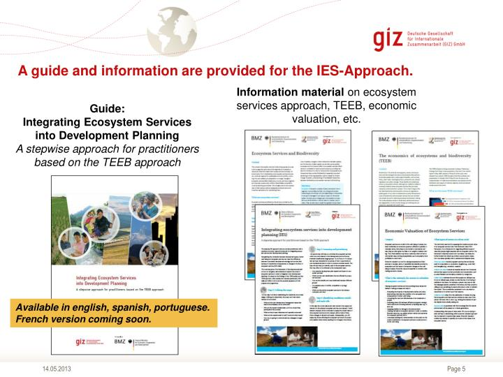 A guide and information are provided for the IES-Approach.