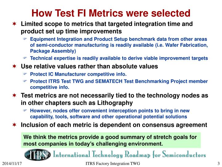 How test fi metrics were selected