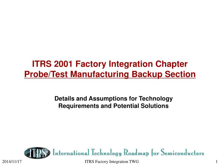 Itrs 2001 factory integration chapter probe test manufacturing backup section