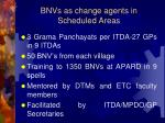 bnvs as change agents in scheduled areas