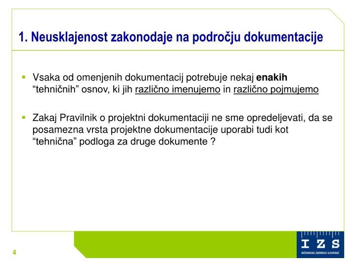 1. Neusklajenost zakonodaje na področju dokumentacije