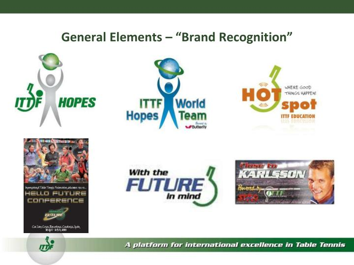 """General Elements – """"Brand Recognition"""""""