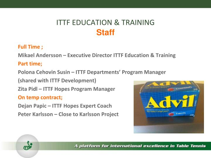 Ittf education training staff