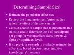determining sample size