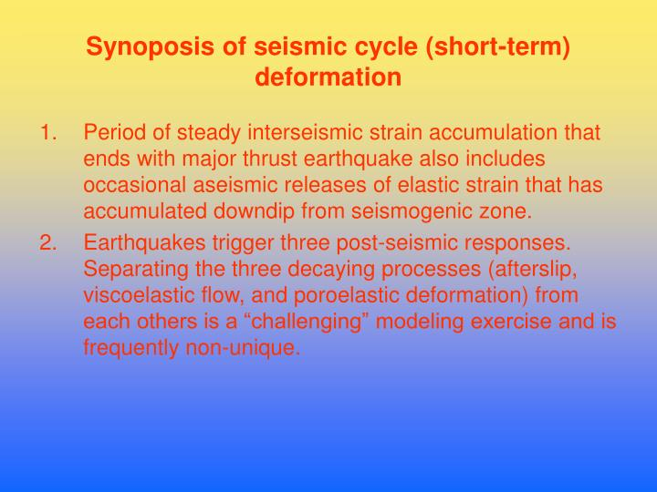 Synoposis of seismic cycle (short-term) deformation