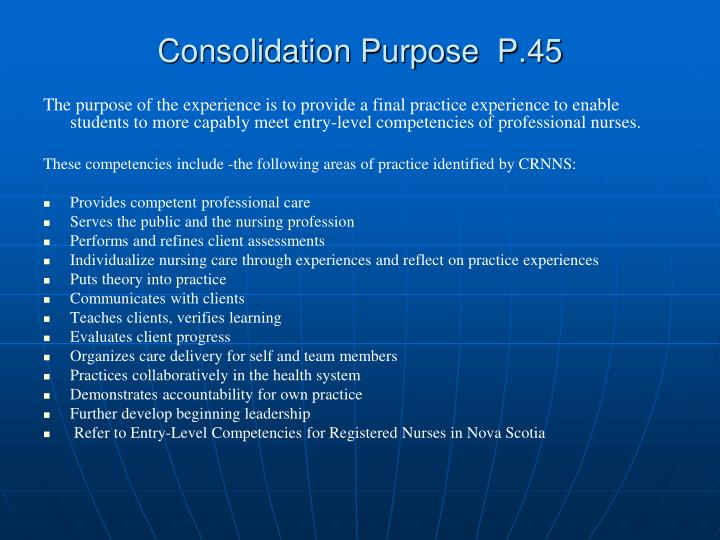 Consolidation purpose p 45