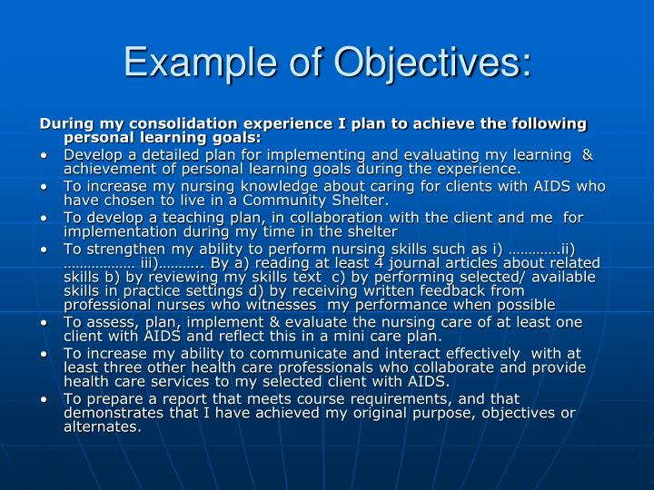 Example of Objectives:
