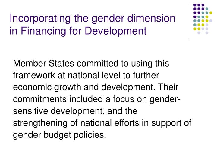 Incorporating the gender dimension in Financing for Development