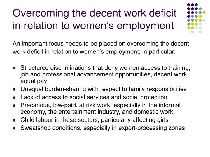Overcoming the decent work deficit in relation to women's employment
