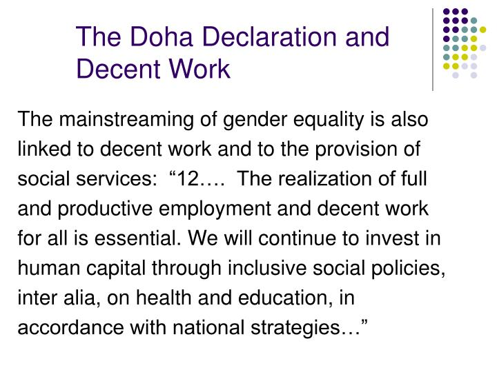 The Doha Declaration and Decent Work
