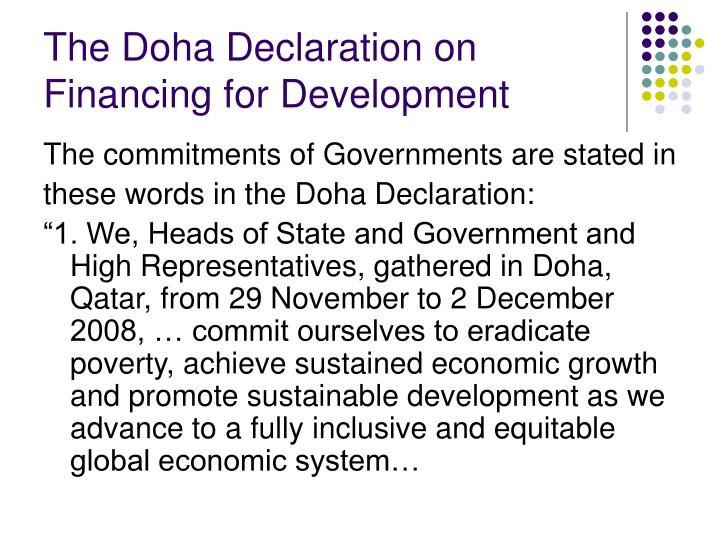 The Doha Declaration on Financing for Development