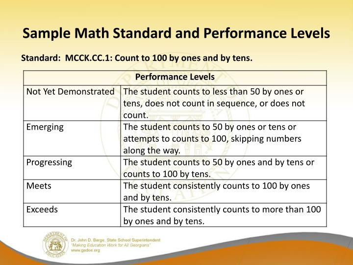 Sample Math Standard and Performance Levels