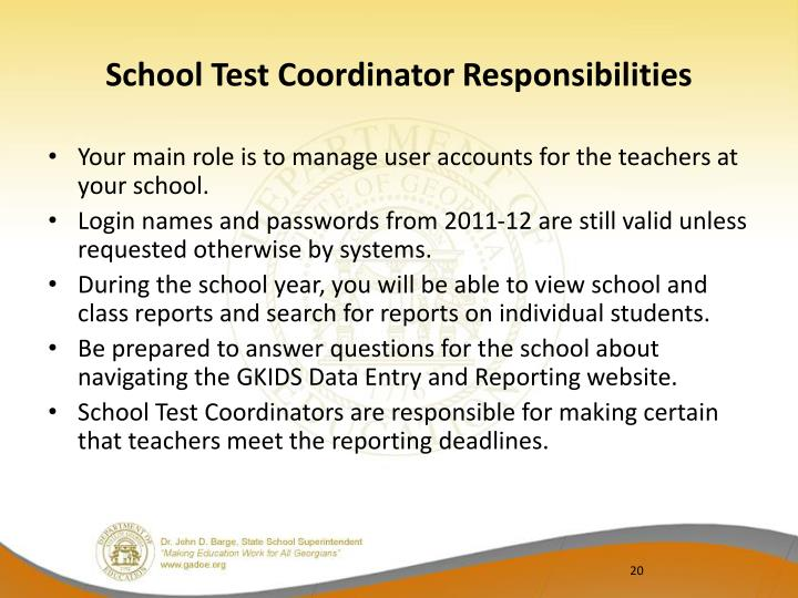 School Test Coordinator Responsibilities