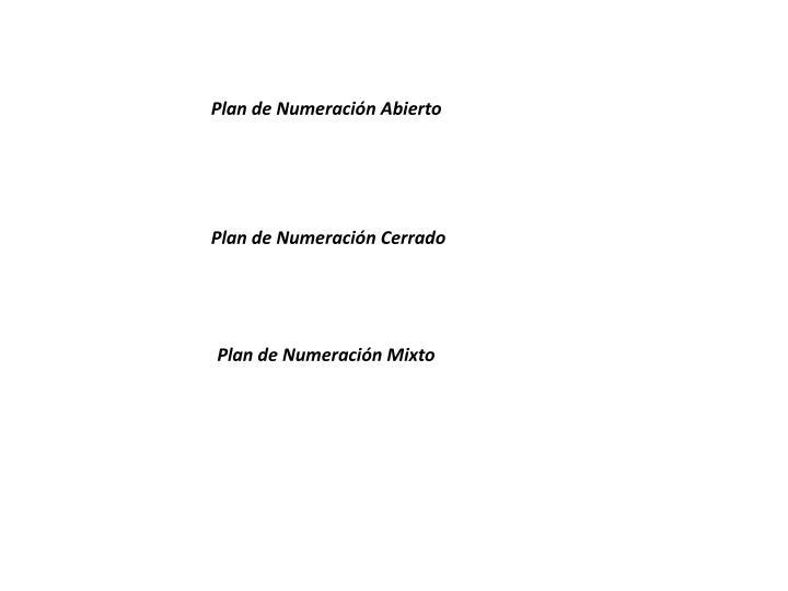Plan de Numeración Abierto