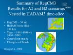 summary of regcm3 results for a2 and b2 scenarios nested in hadam3 time slice