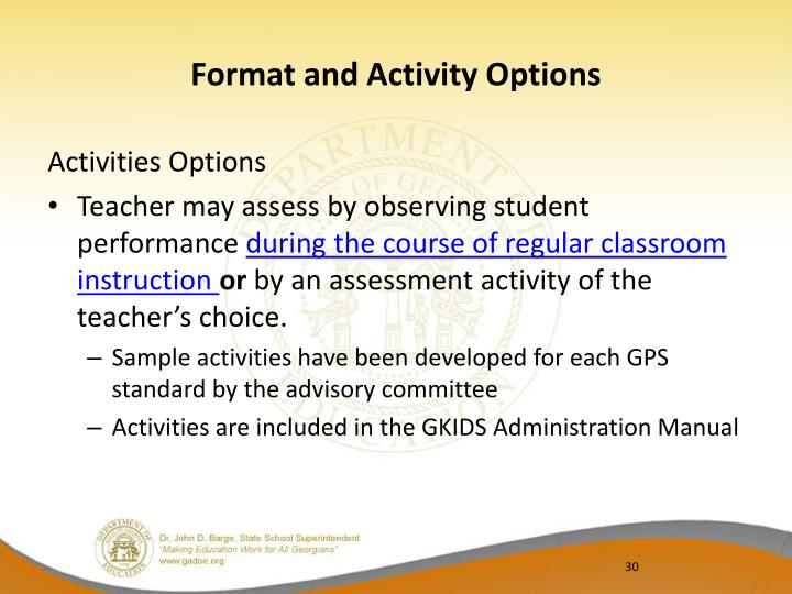 Format and Activity Options