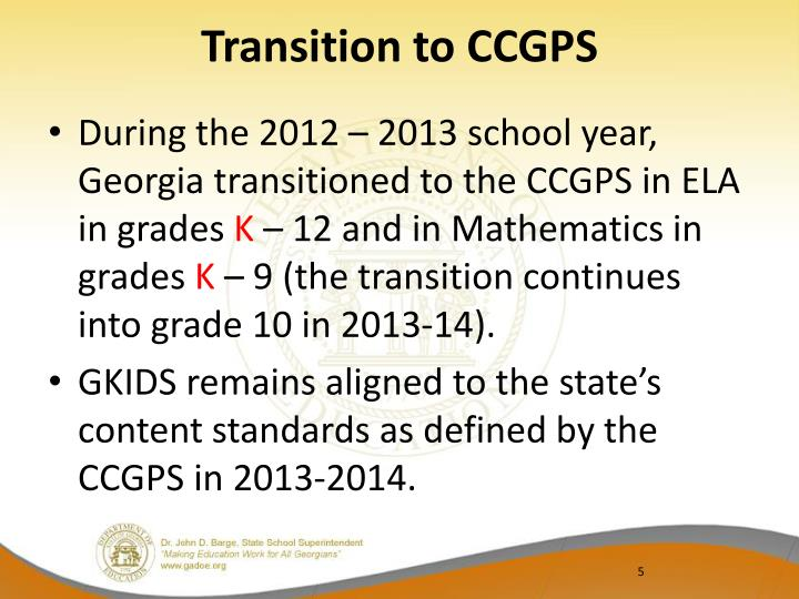 Transition to CCGPS