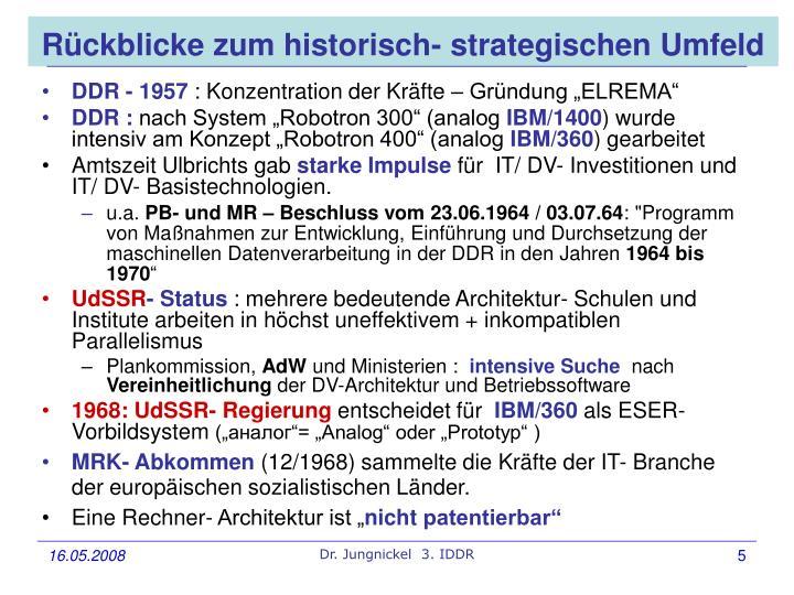 Rückblicke zum historisch- strategischen Umfeld