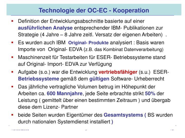 Technologie der OC-EC - Kooperation