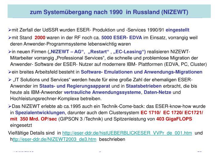 zum Systemübergang nach 1990 in Russland (NIZEWT)
