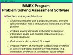 immex program problem solving assessment software