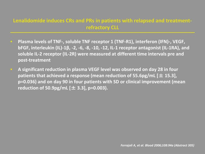 Lenalidomide induces CRs and PRs in patients with relapsed and treatment-refractory CLL