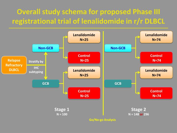 Overall study schema for proposed Phase III registrational trial of lenalidomide in r/r DLBCL