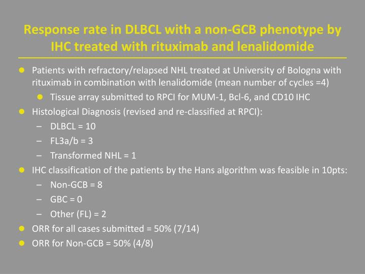 Response rate in DLBCL with a non-GCB phenotype by IHC treated with rituximab and lenalidomide