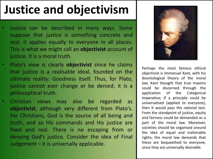Justice and objectivism