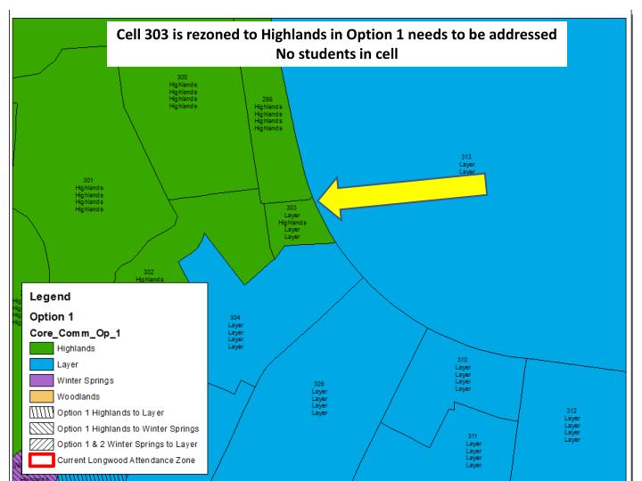 Cell 303 is rezoned to Highlands in Option 1 needs to be addressed