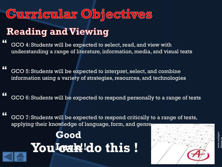 GCO 4: Students will be expected to select, read, and view with understanding a range of literature, information, media, and visual