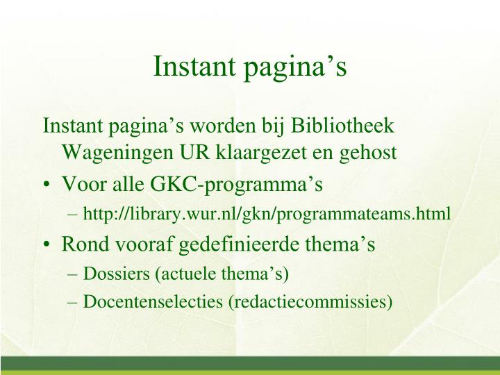 Instant pagina's