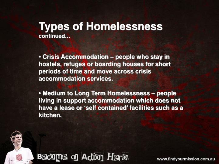 Types of Homelessness