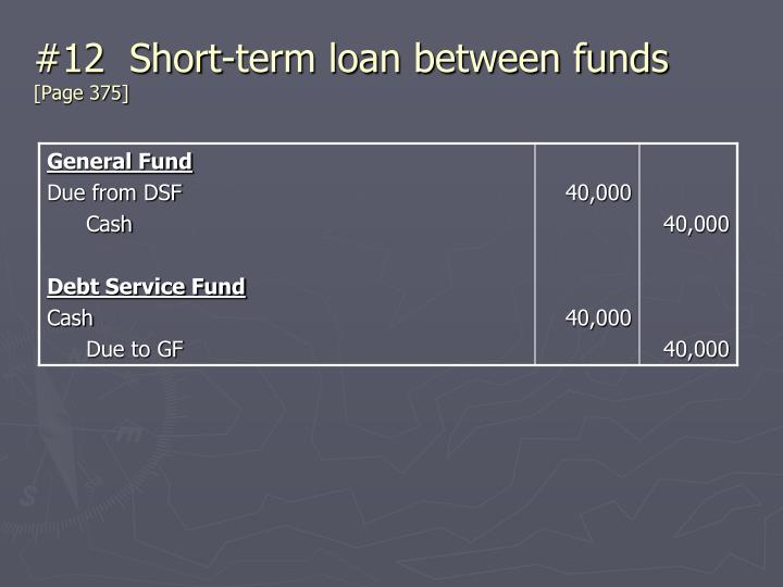 #12  Short-term loan between funds
