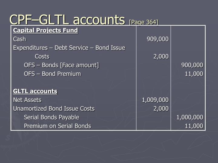 CPF–GLTL accounts