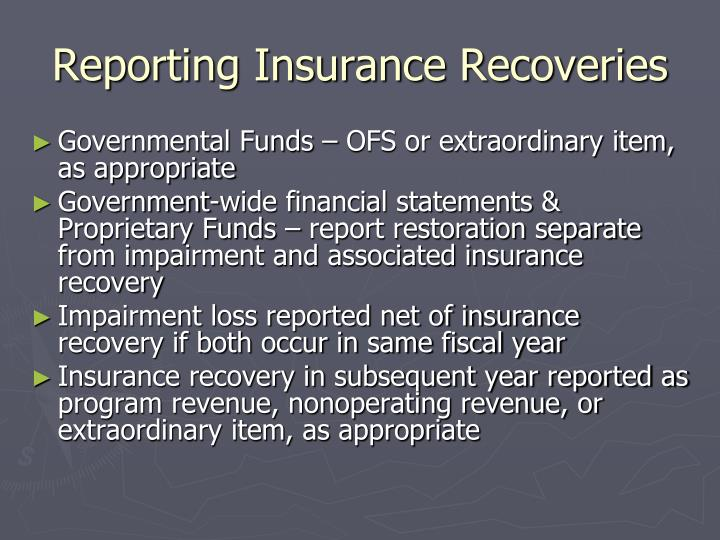 Reporting Insurance Recoveries