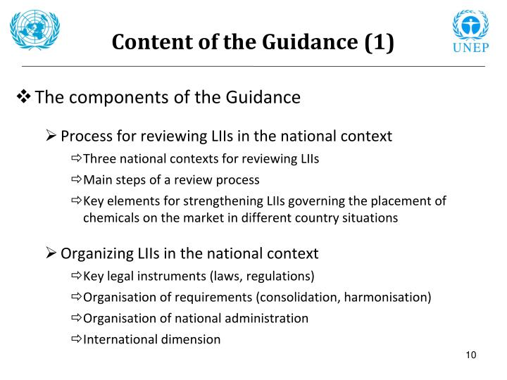 Content of the Guidance (1)