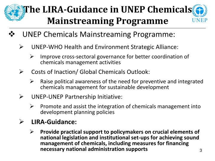 The lira guidance in unep chemicals mainstreaming programme