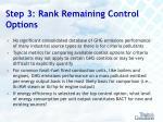 step 3 rank remaining control options