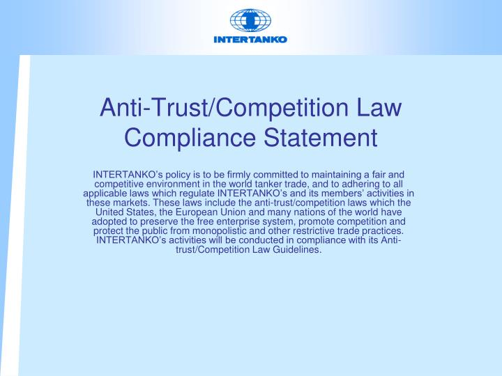Anti trust competition law compliance statement