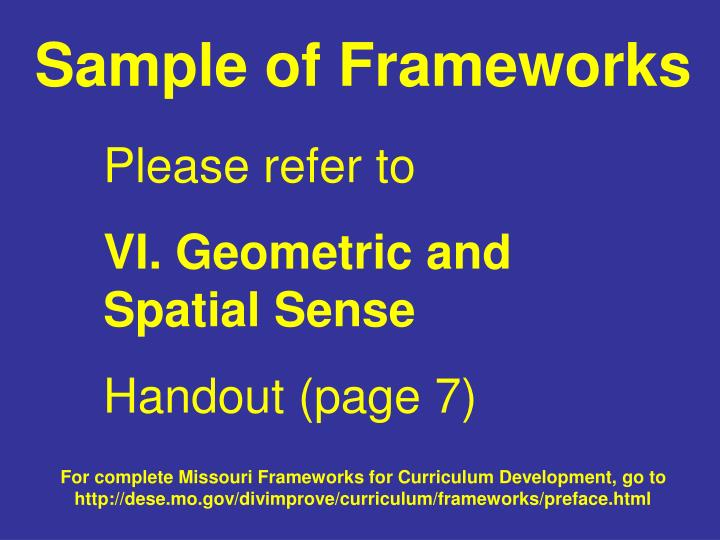 Sample of Frameworks