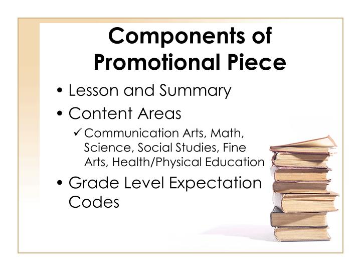 Components of promotional piece