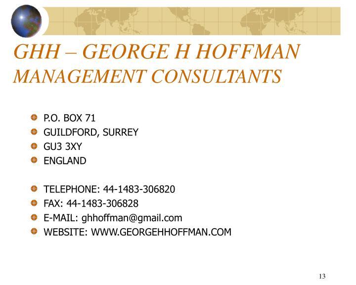 GHH – GEORGE H HOFFMAN