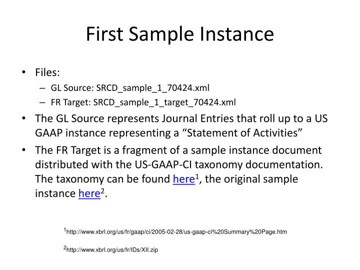 First sample instance