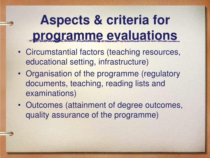 Aspects & criteria for programme evaluations